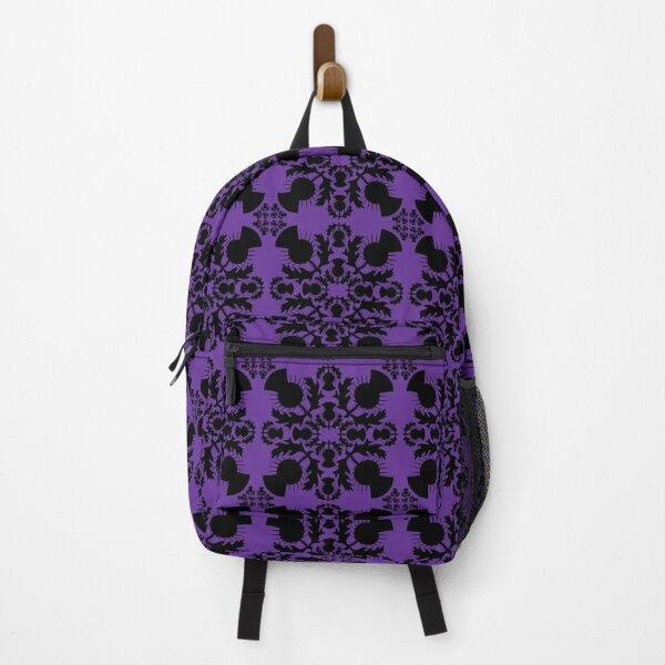 Damask Black Highland Thistle on Purple Backpack