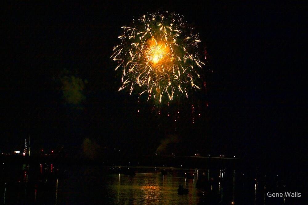 Fireworks Over Market Street Bridge by Gene Walls