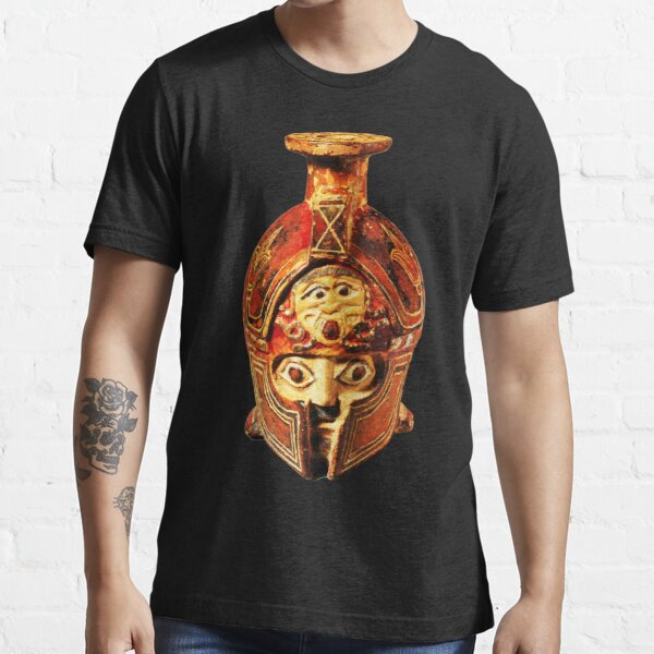 HIGH RESOLUTION Terracotta Aryballos in the Form of a Helmeted Head Ancient Greek Greece Essential T-Shirt