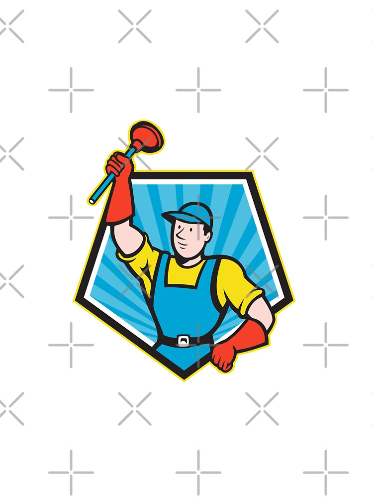 Super Plumber Wielding Plunger Pentagon Cartoon by patrimonio