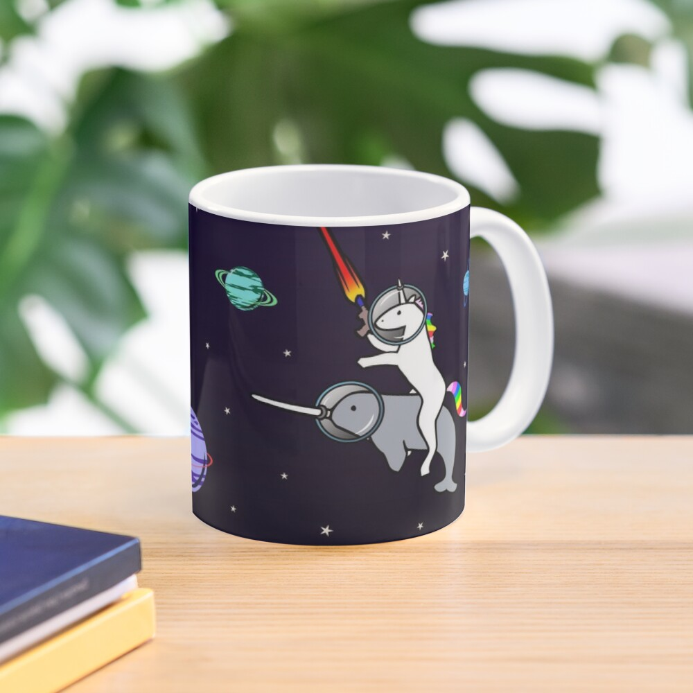 Unicorn Riding Narwhal In Space Mug