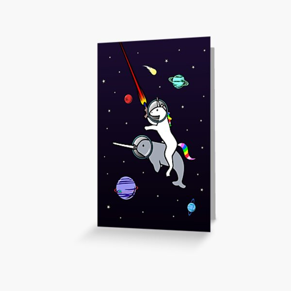 Unicorn Riding Narwhal In Space Greeting Card