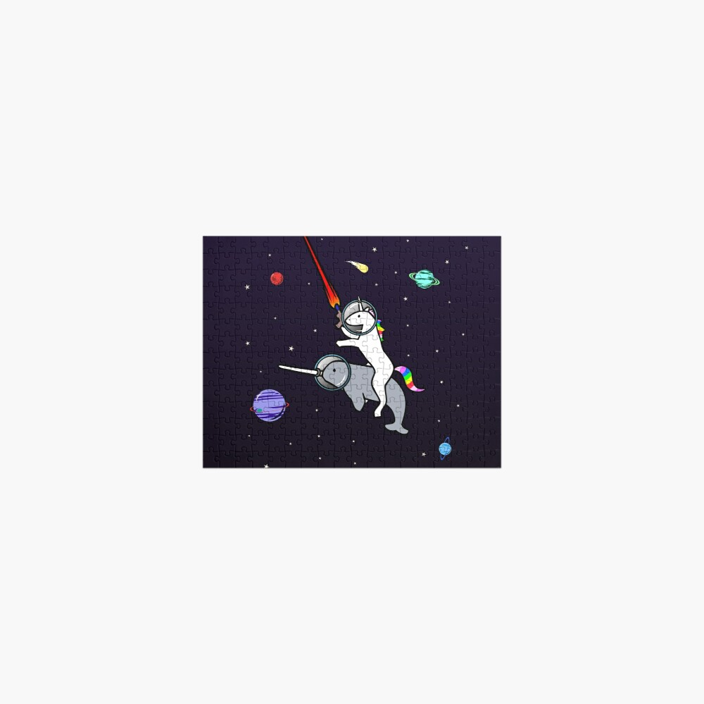 Unicorn Riding Narwhal In Space Jigsaw Puzzle