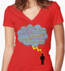 life makes ECHOES. (stick boy.) Women's Fitted V-Neck T-Shirt