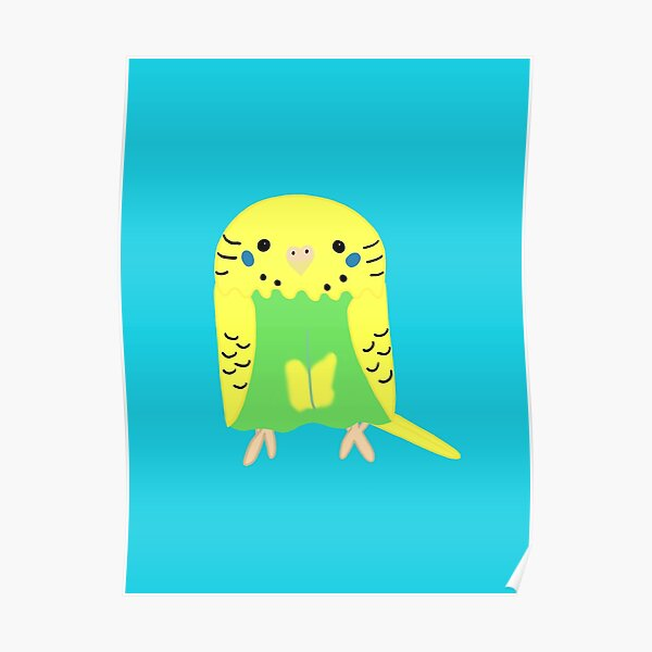 Cute yellow green budgie girl Poster