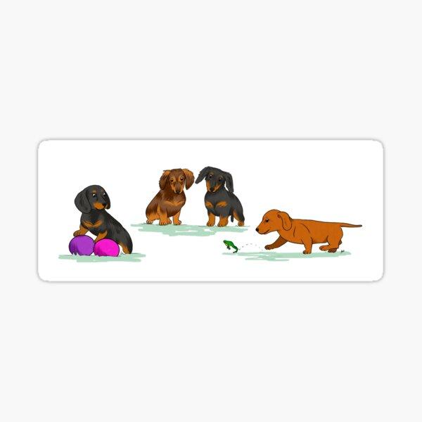 Playful puppies - Dachshund  Sticker