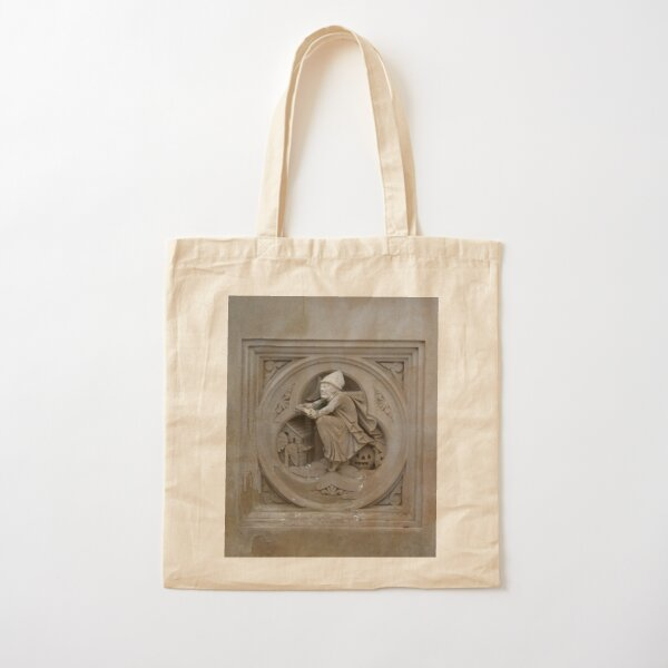 Halloween Witch on Broom 3d Stone Carving Photo Cotton Tote Bag