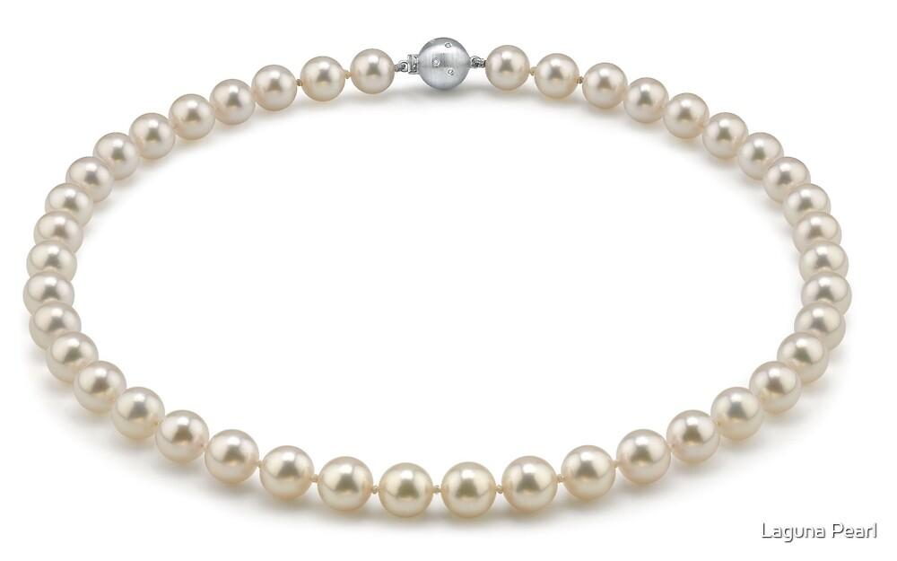 8.5-9.0mm Hanadama Akoya White Pearl Necklace by Laguna Pearl