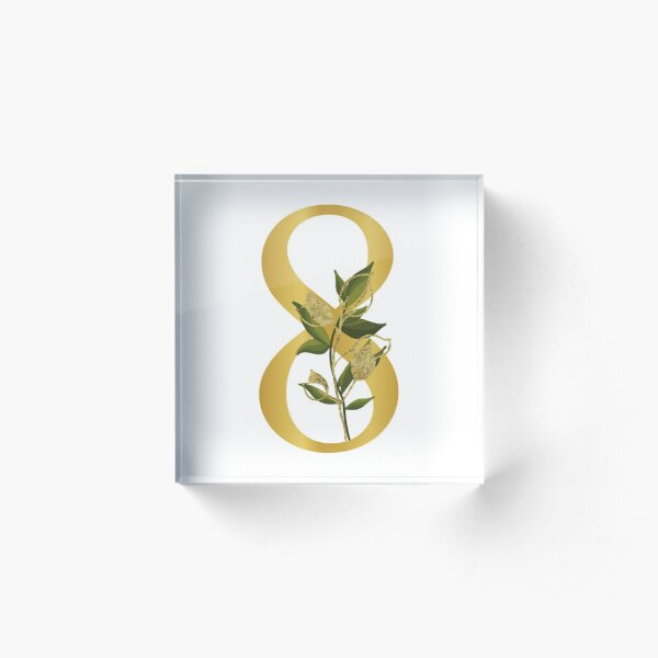 Floral Leaves Gold Number 8 Acrylic Block