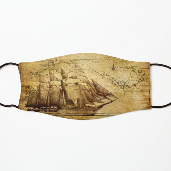 Old Ship Map Kids Mask
