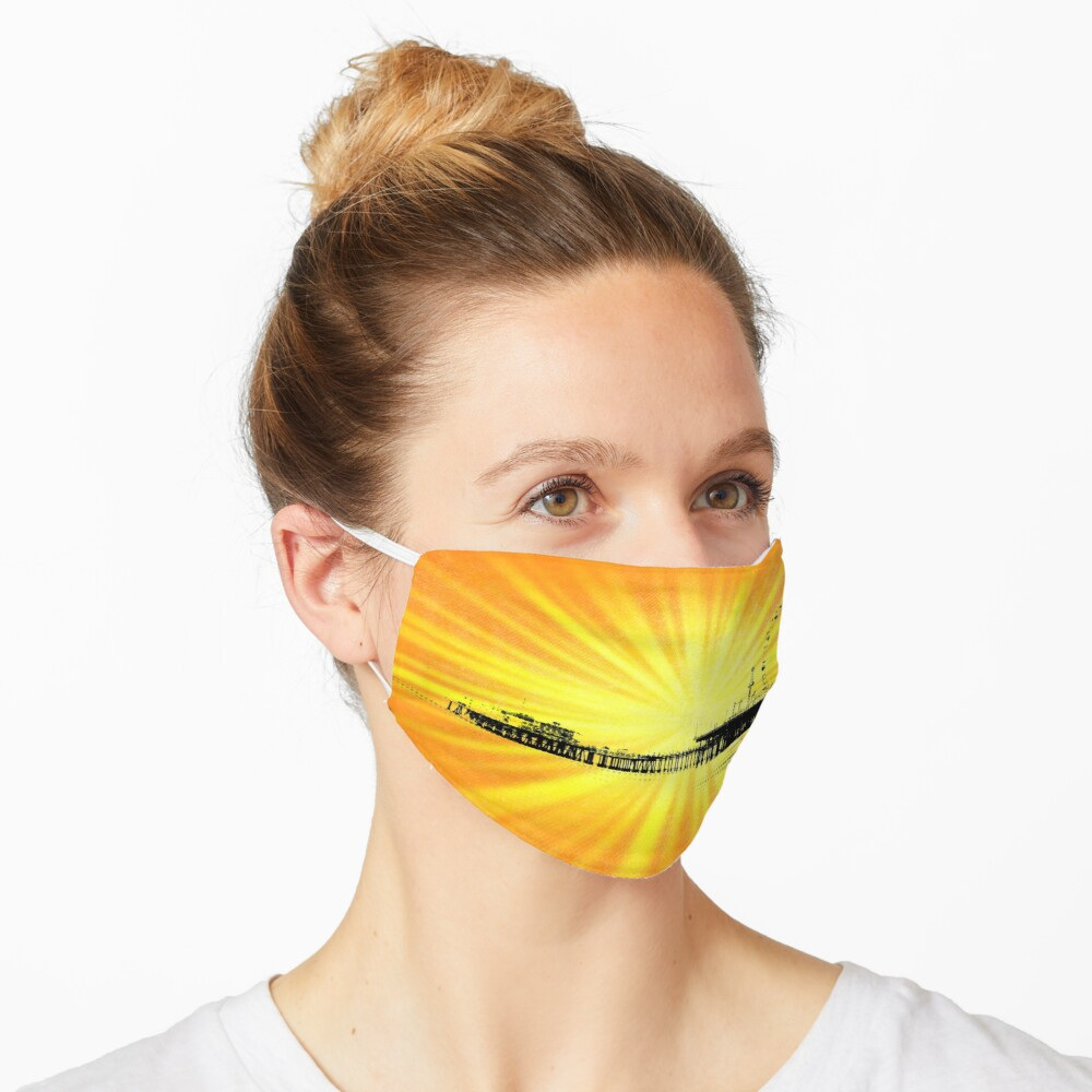 Santa Monica Pier Yellow Sunburst Mask