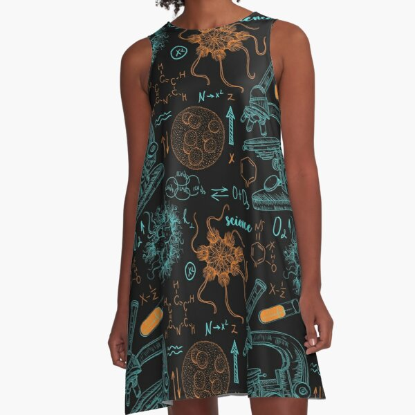 Vintage seamless pattern old chemistry laboratory with microscope, tubes, formulas, microbes and viruses. A-Line Dress
