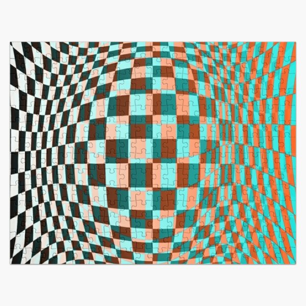 Chess, #Optical #Checker #Illusion #Pattern, design, chess, abstract, grid, square, checkerboard, illusion Jigsaw Puzzle