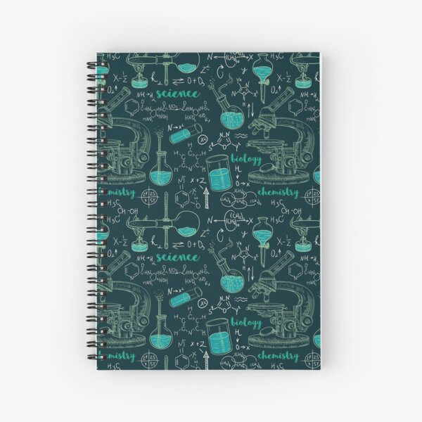 Vintage seamless pattern old chemistry laboratory with microscope, tubes and formulas. Spiral Notebook