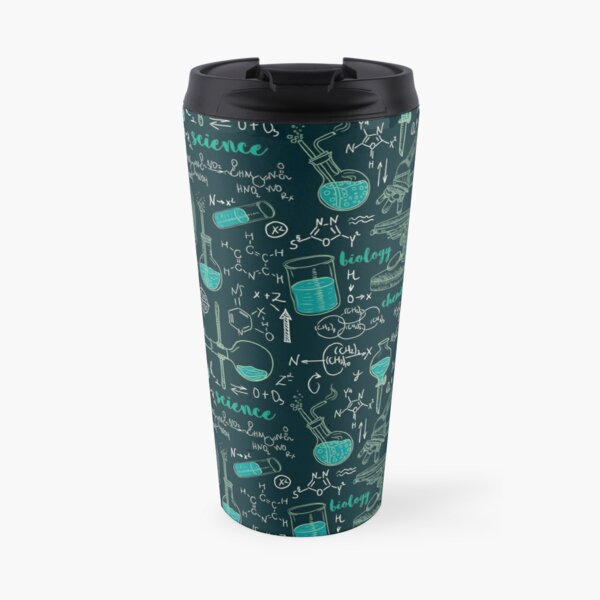 Vintage seamless pattern old chemistry laboratory with microscope, tubes and formulas. Travel Mug