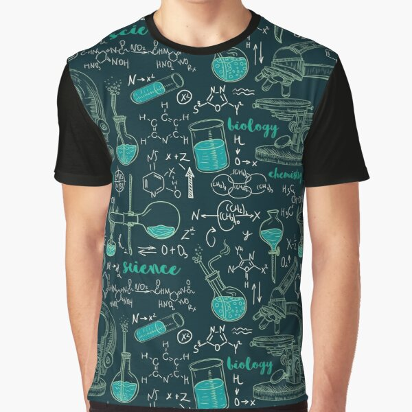 Vintage seamless pattern old chemistry laboratory with microscope, tubes and formulas. Graphic T-Shirt