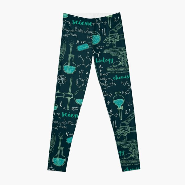 Vintage seamless pattern old chemistry laboratory with microscope, tubes and formulas. Leggings