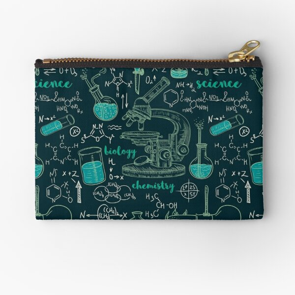 Vintage seamless pattern old chemistry laboratory with microscope, tubes and formulas. Zipper Pouch