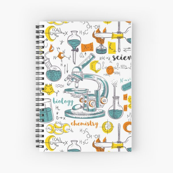 Vintage seamless pattern old chemistry laboratory with microscope, tubes and formulas Spiral Notebook