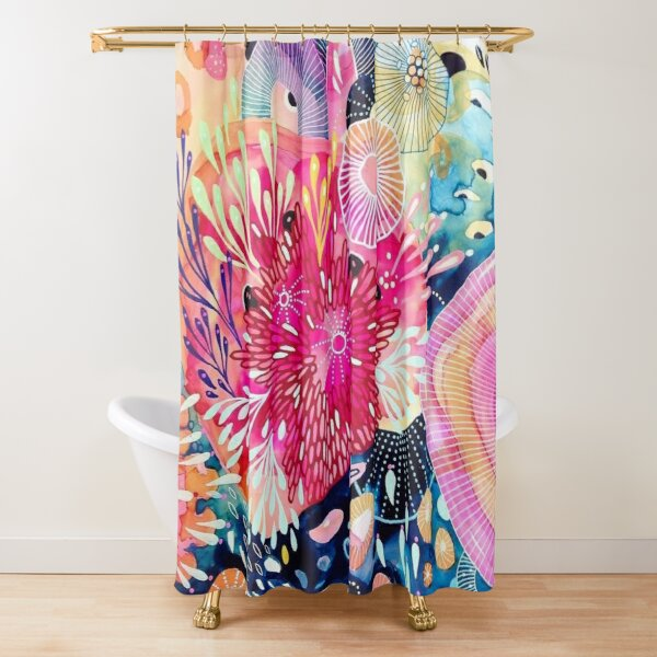 Coral Color Harmony In The Deep Sea Shower Curtain