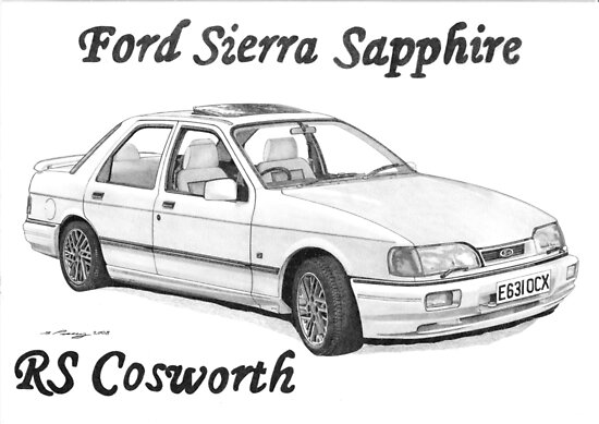 'FORD SIERRA SAPPHIRE RS COSWORTH' Poster by Steve Pearcy