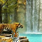 Two Tigers at Waterfall by Gracey