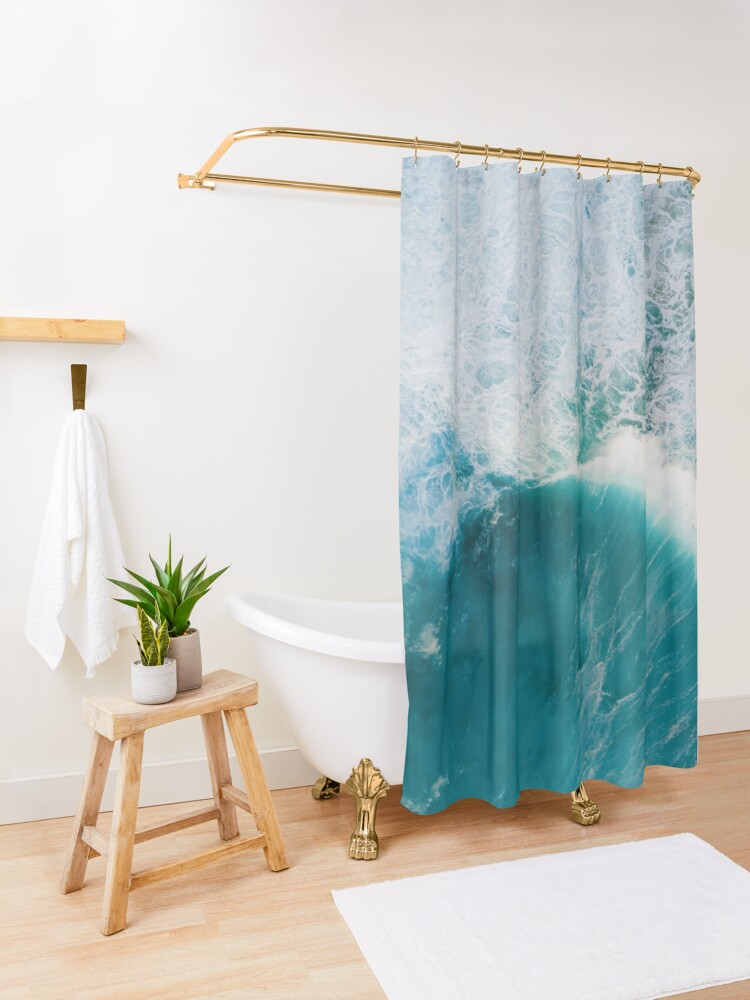 Alternate view of Deep blue ocean Shower Curtain