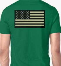 AMERICAN, ARMY, reverse side flag, Soldier, American Military, Arm Flag, US Military, IR, Infrared, USA, Flag, on BLACK T-Shirt