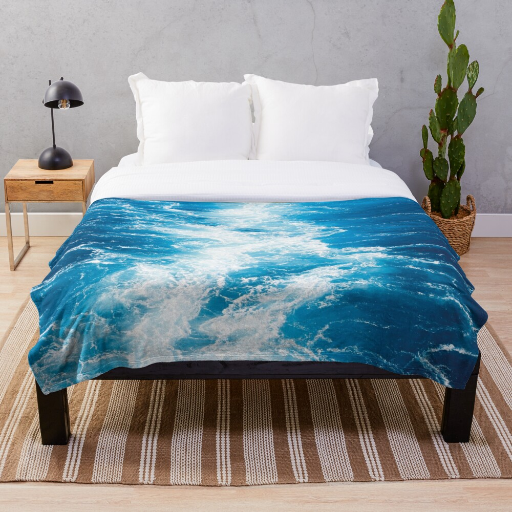 Blue sea Throw Blanket