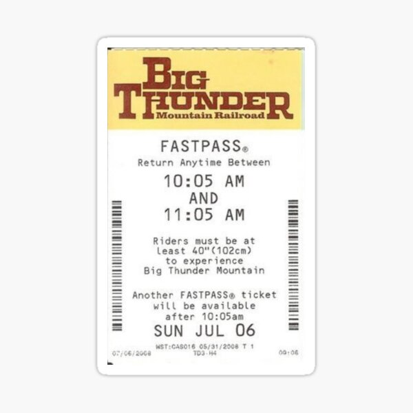 Big Thunder Mountain Fastpass Sticker