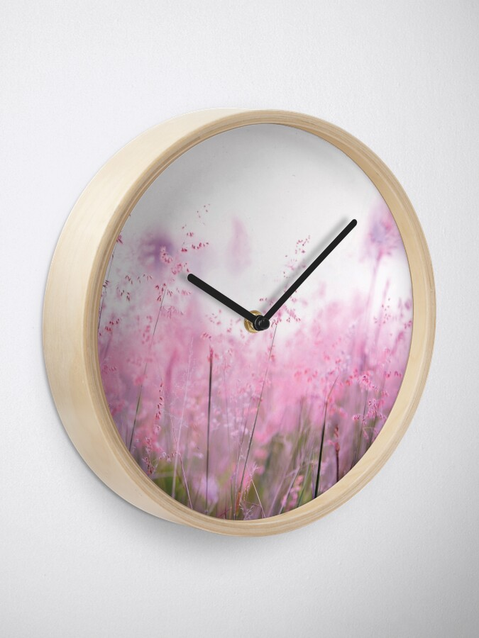 Alternate view of Pink summer field Clock