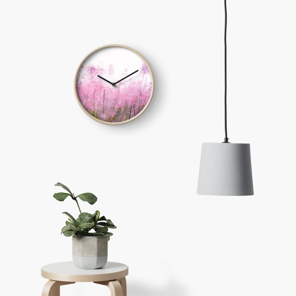 Pink summer field Clock
