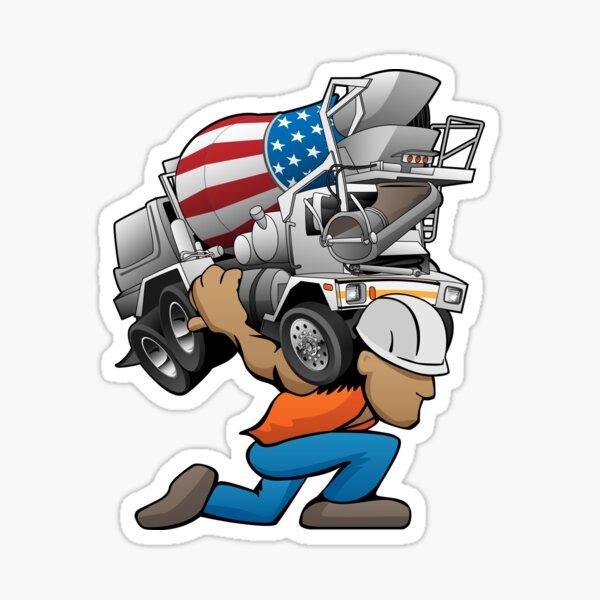 Cement Truck Mixer Cartoon Sticker