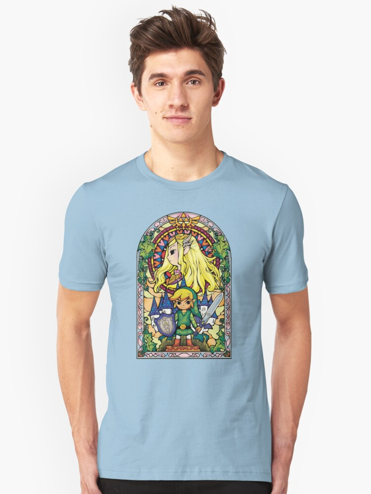 Link and Zelda Stained Glass Unisex T-Shirt Front