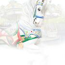 Carousel White Horse in a Child's World by Randall Nyhof