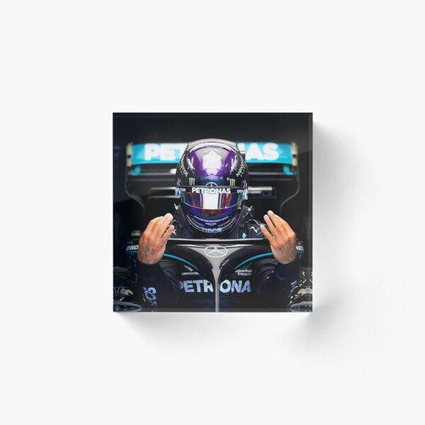 Lewis Hamilton getting ready to race for the 2020 Hungarian Grand Prix Acrylic Block