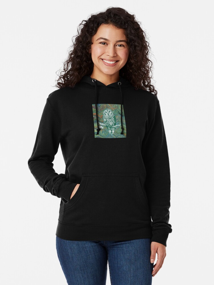 Alternate view of The Owl in the Library Lightweight Hoodie