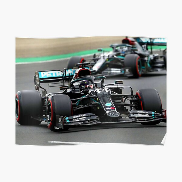Lewis Hamilton in front of Valtteri Bottas during the 2020 Hungarian Grand Prix Poster