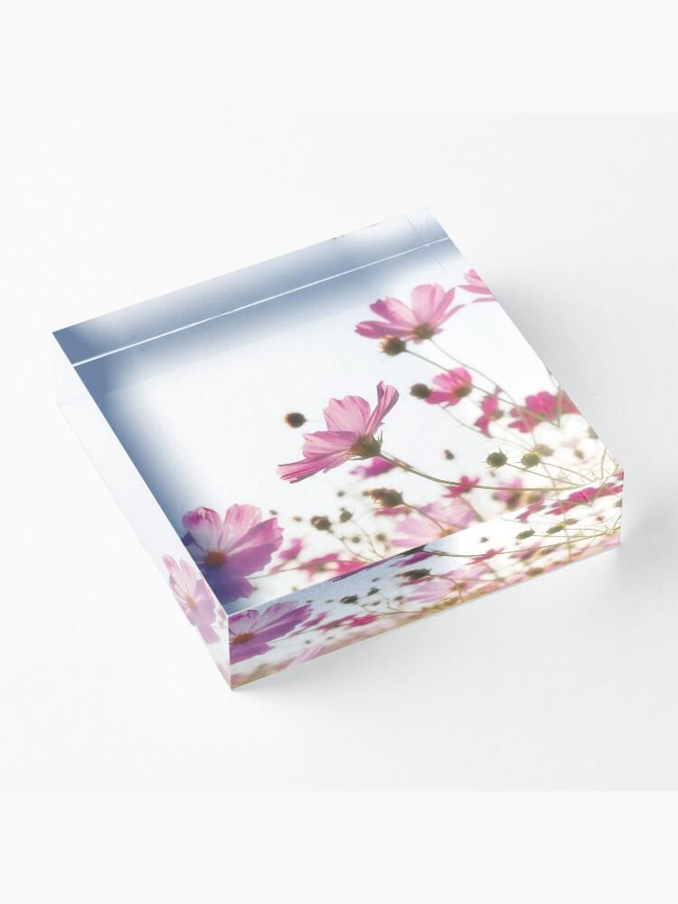 Alternate view of Pink flowers Acrylic Block