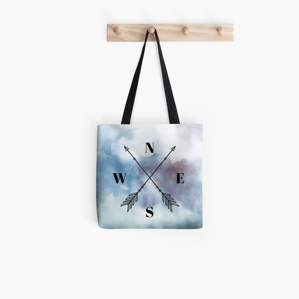 Blue Watercolour Nautical Compass Arrow Tote Bag