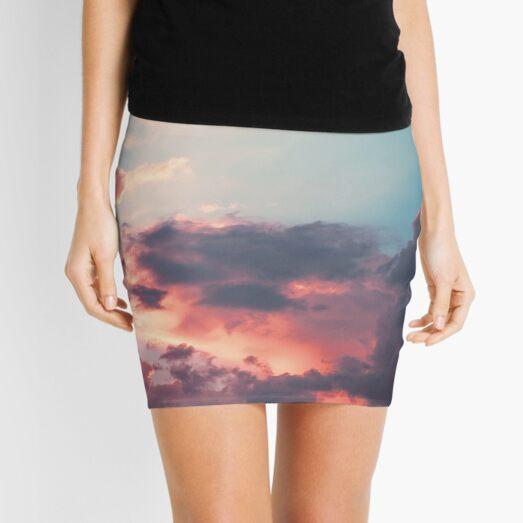 Blue sky, pink clouds Mini Skirt