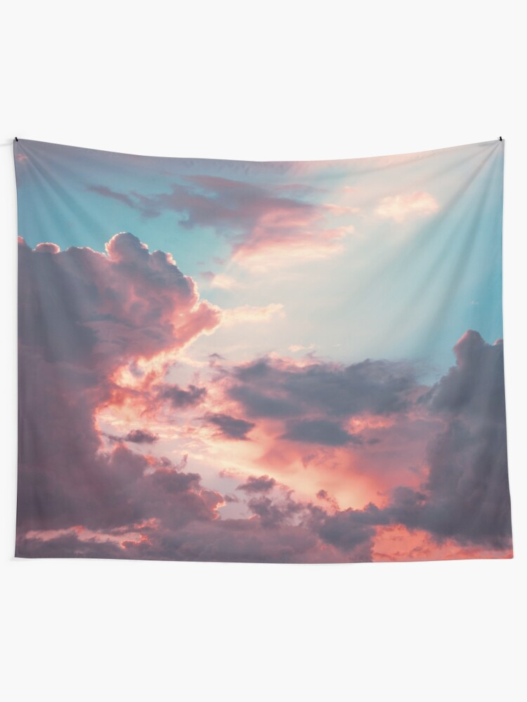 Alternate view of Blue sky, pink clouds Tapestry
