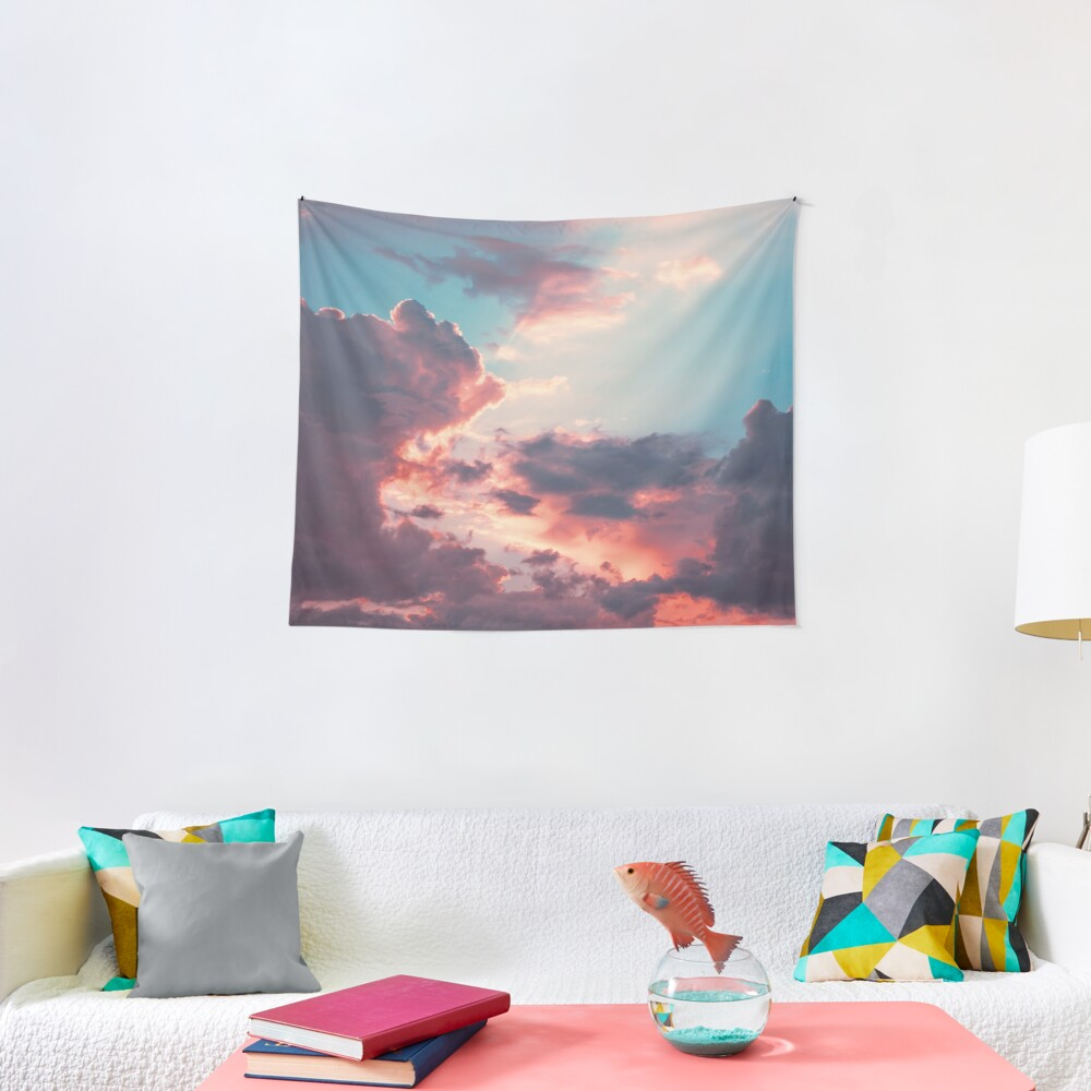 Blue sky, pink clouds Tapestry