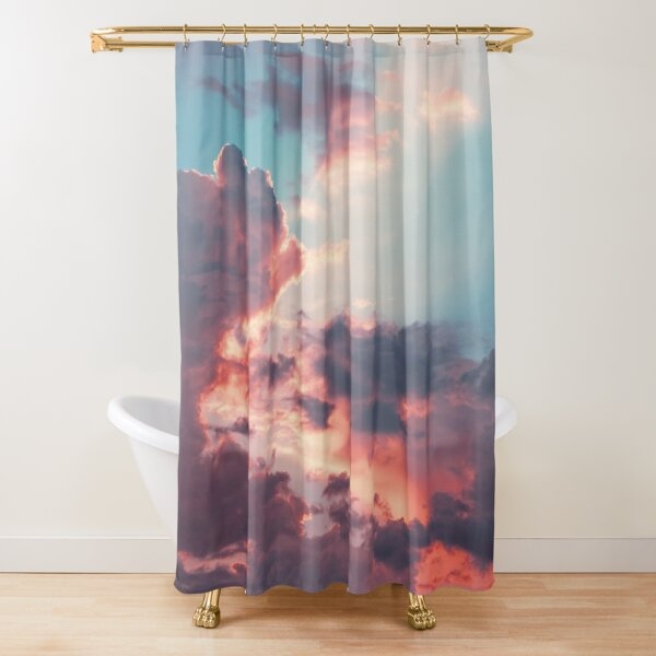 Blue sky, pink clouds Shower Curtain