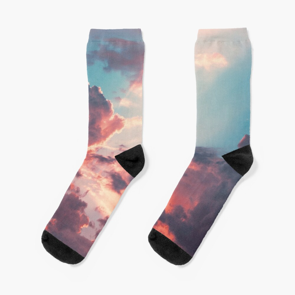 Blue sky, pink clouds Socks
