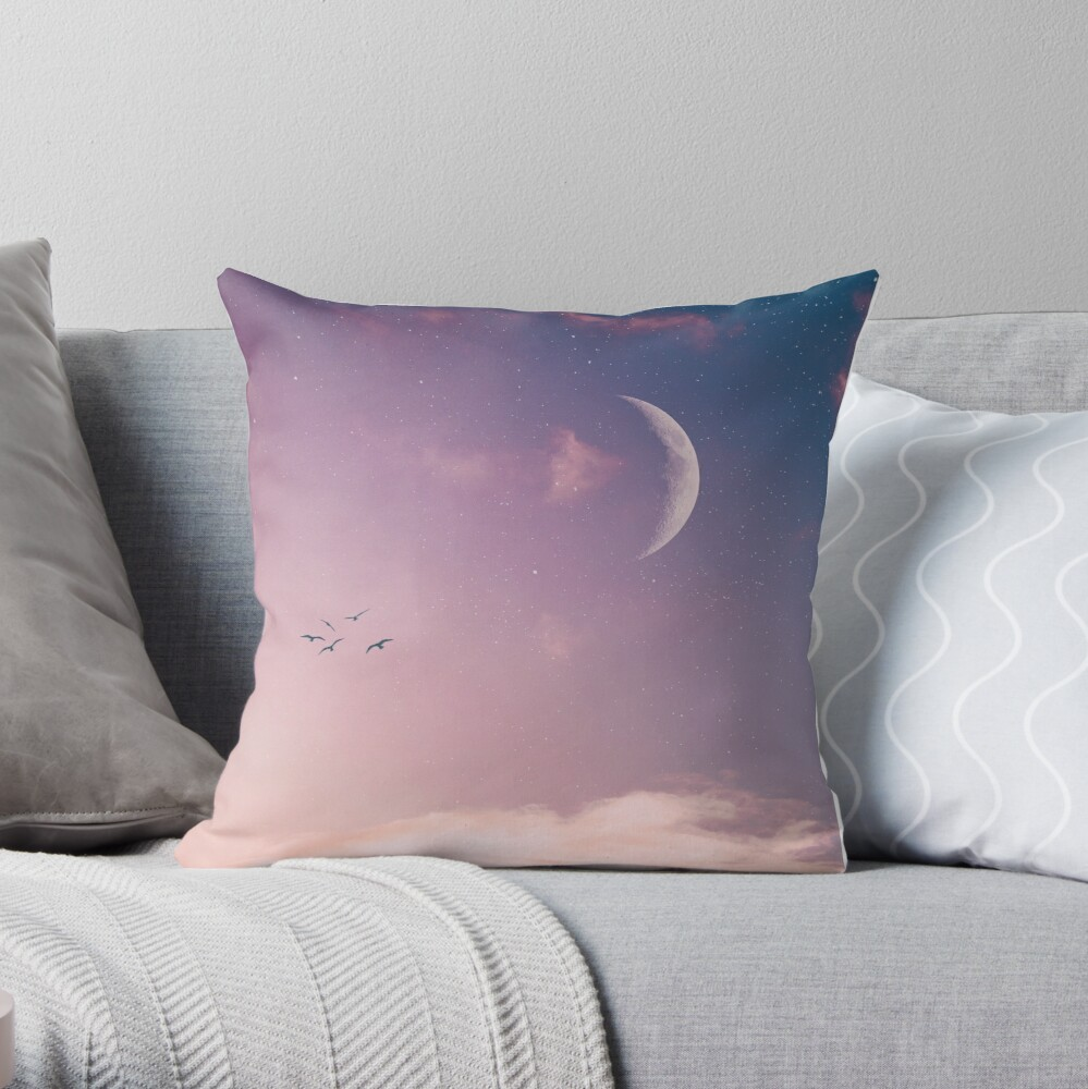 Birds in pink sky Throw Pillow