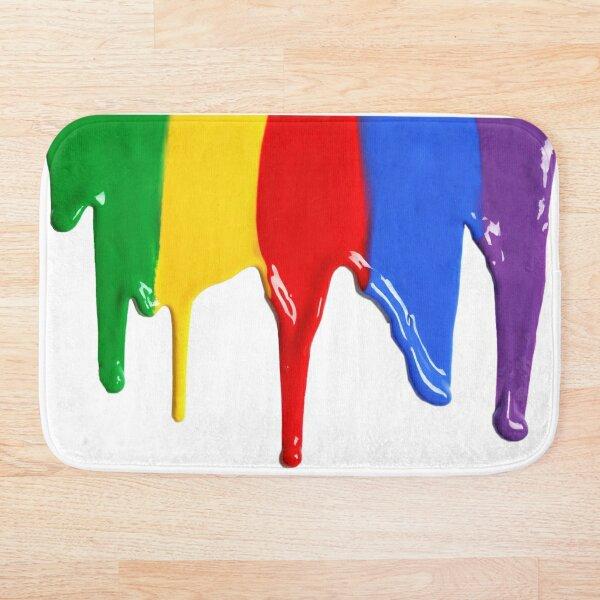 Dripping Rainbow Paint Bath Mat