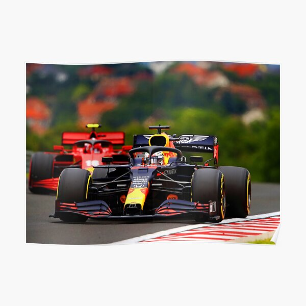Max Verstappen in front of Charles Leclerc during the 2020 Hungarian Grand Prix Poster