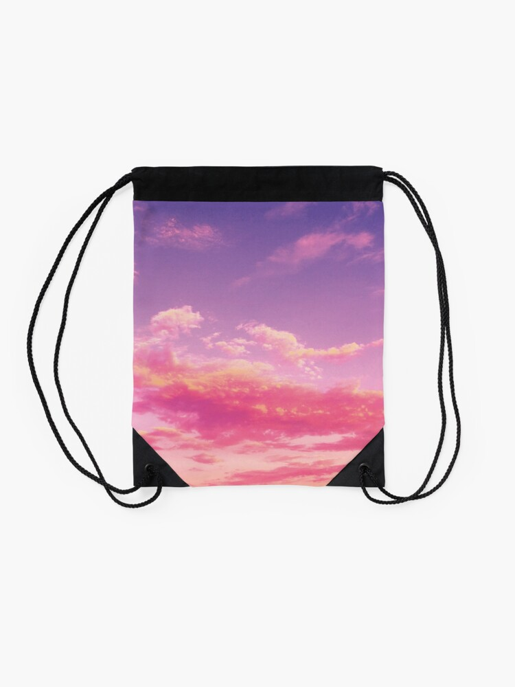 Alternate view of Purple sky, pink clouds Drawstring Bag