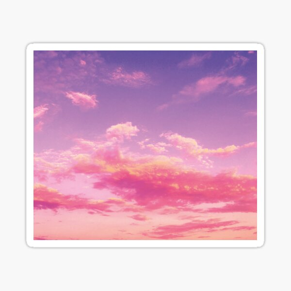 Purple sky, pink clouds Sticker